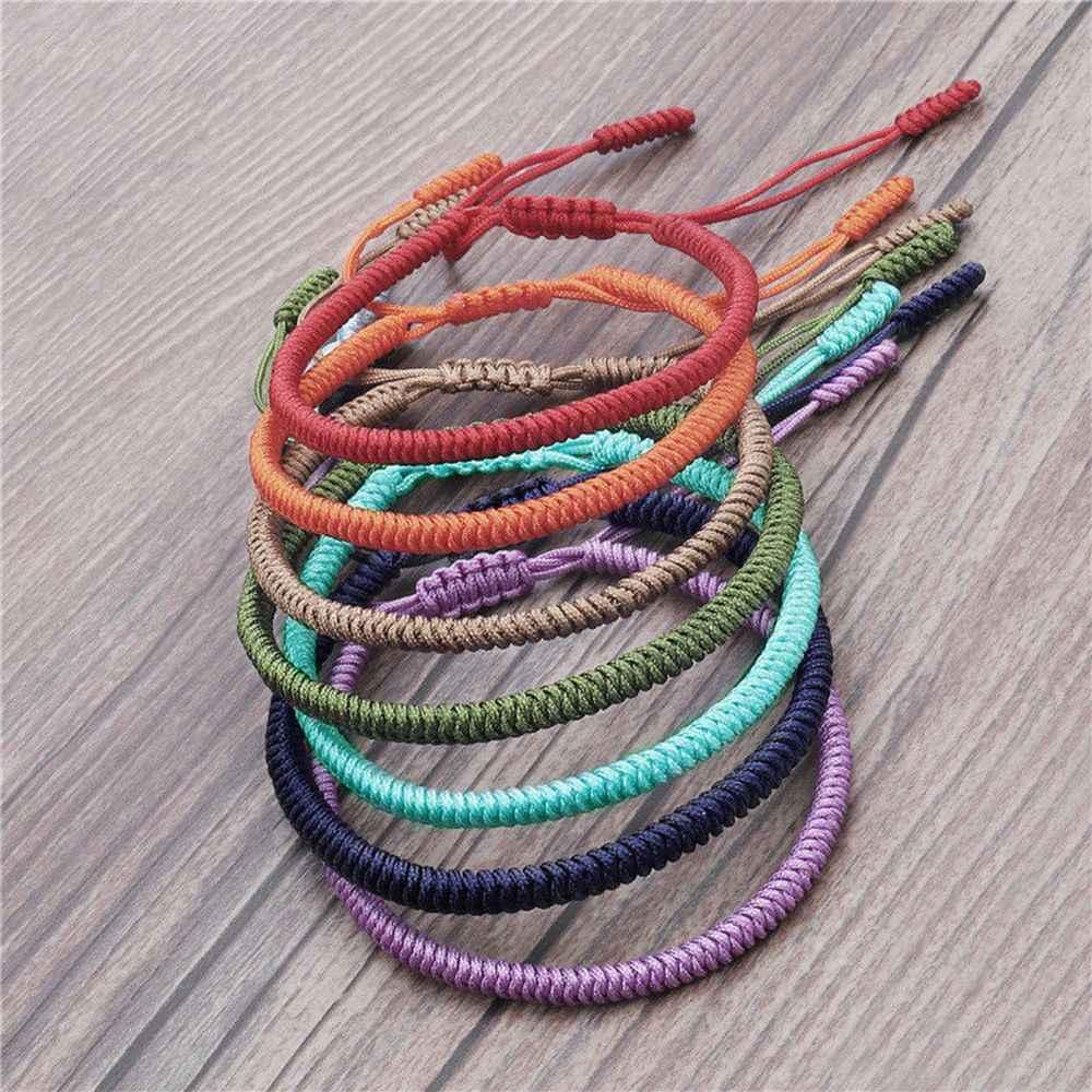 1pc Buddismo Tibetano Tessuto A Mano Nodi Braccialetto Fortunato Per Women7 Chakra YOGA Rope OM Bracciali & Bangle
