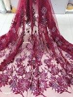 Африканский кружевной ткани, 5 ярдов Свадебная кружевная ткань, кружева ручной работы вышивка кружева Роскошная ткань