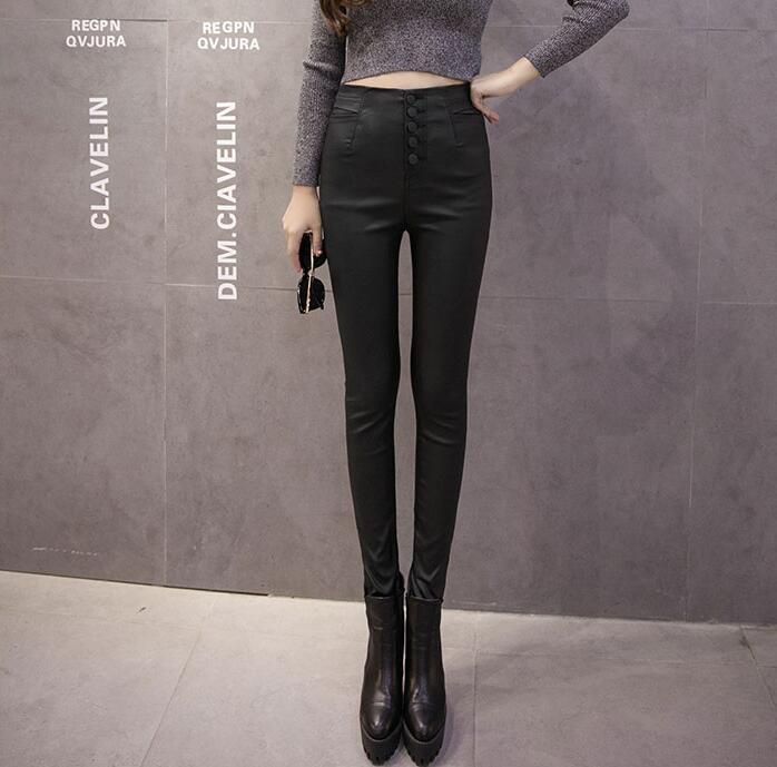 T-T6601 Leather Pants Women High Waist Pencil Pants Women Casual Plus Velvet Warm Winter Trousers Women Pants
