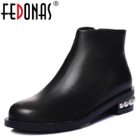 FEDONAS Women Genuine Leather Ankle Boots High Heels Motorcycle Shoes Woman Fashion Autumn Winter Beading Martin
