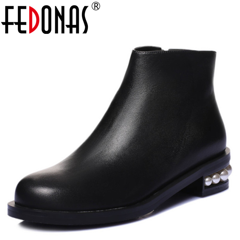 FEDONAS Women 100% Genuine Leather Ankle Boots High Heels Round Toe Motorcycle Boots Fashion Autumn Winter Beading Martin Shoes 2016 new arrive high quality genuine leather high heels ankle boots fashion round toe simple leisure women autumn boots