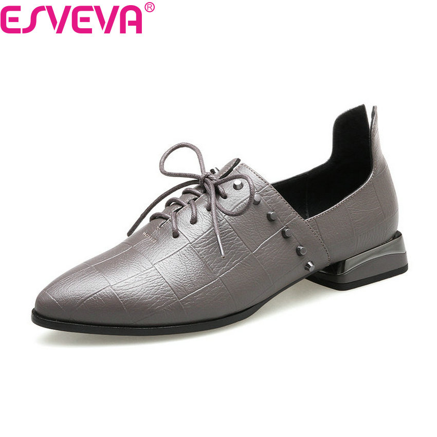 ESVEVA 2018 Women Pumps Rivets Western Style Lace Up Square Low Heel Pumps Casual Pointed Toe Spring Autumn Shoes Size 34-43 vinlle 2017 sweet rome style women pumps party summer shoes pointed toe square low heel lace up wedding woman shoes size 34 43