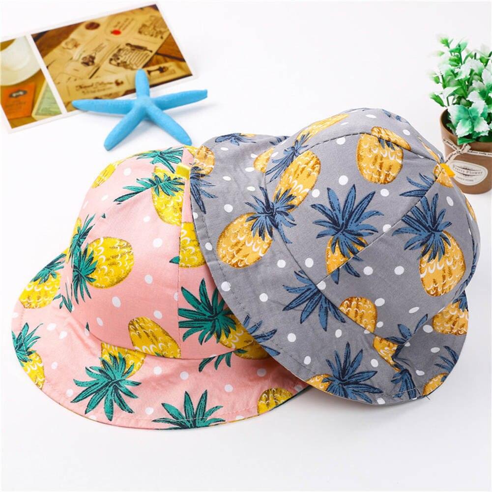 Fashion Summer Children Hat Cotton Cartoon Pineapple Printed  Cap Spring Autumn Baby Kids Girl Baby Sunscreen Caps 99 H9