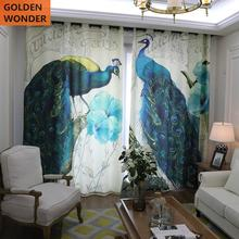 Modern Simple Cotton Curtain Children Room Curtains For Kids Pastoral Peacock Pattern Blackout Drapes Environmental Protection
