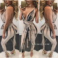 GZDL Hot Sale New Style Fashion Summer Sexy Women Halter Seeveless Plunge Bandage Bodycon Jumpsuit Romper Trousers CL2961