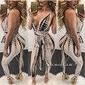 GZDL Venda Quente Novo Estilo de Moda de Verão Sexy Mulheres Halter Seeveless Plunge Bandage Bodycon Jumpsuit Romper Calças CL2961