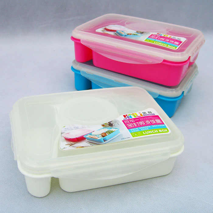 32b42af13d0d 1Pc Bento Lunch Box Fully Sealed Food 4-compartment Bento Box Soup Bowl  With Plastic Scoop Pratos Microwave Meal(99)