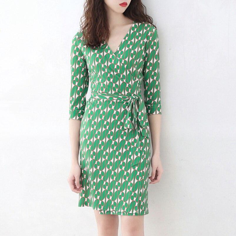 2019 Robe d'été Femmes Imprimé Vert décontracté enveloppement de crayon Robes Robe Femme
