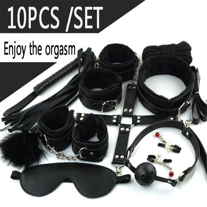 Ataullah <font><b>10</b></font> Pcs/set <font><b>Sex</b></font> Toys Erotic Toys for Adults Couples BDSM <font><b>Sex</b></font> Bondage Handcuffs Nipple Clamps Gag Whip Rope BG005 image