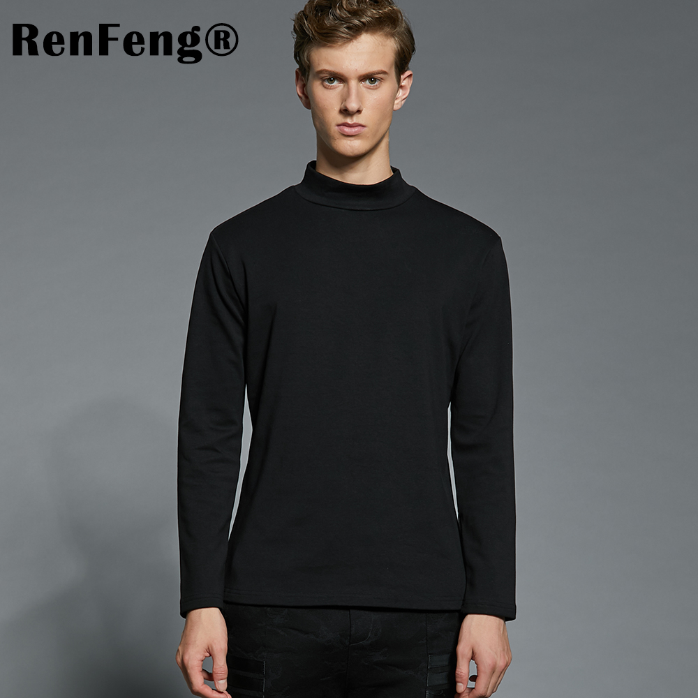 2018 Summer Men's Undershirts Long Sleeve Turtleneck Undershirt Men White T-Shirt Plus Size Top Tees 95 Cotton Thermal Underwear (19)