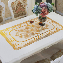 PVC Tablecloth Waterproof Europe Jacquard Rectangle Table Cover Table Cloths For Events Decor Embroidered Tablecloths Sale