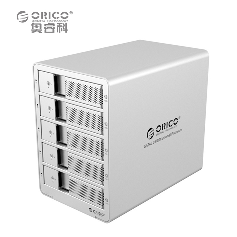 ORICO 9558U3 5-Bay 3.5 USB3.0  SATA  External Box Enclosure HDD Docking Station Case for Hard Disk Drive Laptop PC (sliver) orico 9528u3 2 bay usb3 0 sata hdd hard drive disk enclosure 5gbps superspeed aluminum 3 5 case external box tool free storage