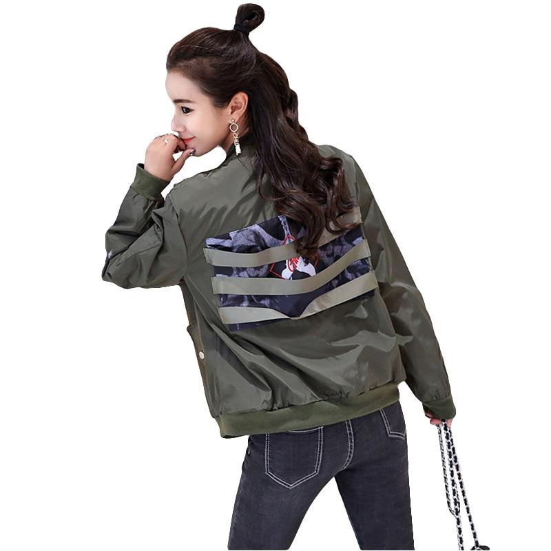 2019 New Fashion Spring Women   Jacket   Long Sleeve Baseball Coat Back Chic Striped Print Bomber   Jacket   Casual Loose   Basic     Jackets