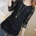 Plus Size XXXL Autumn Winter Slim Long Lace Shirt Female Beading Long Sleeve Crochet Foral Print Lace Blouses Women Tops Blusas
