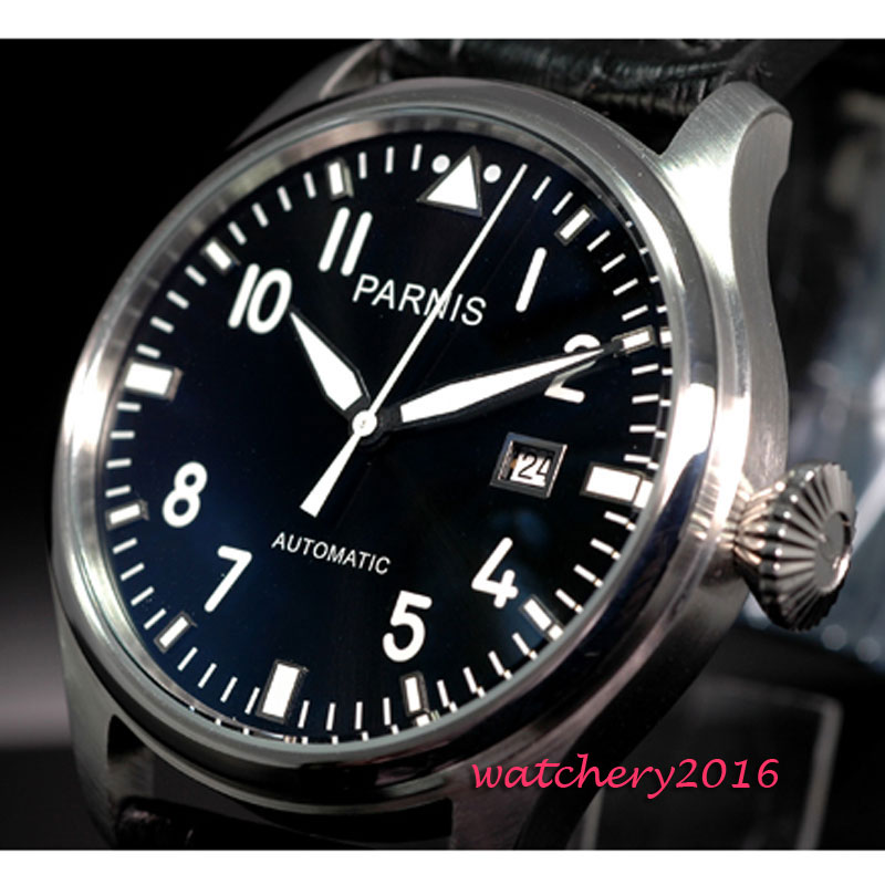 47MM Parnis Black Dial Complete Calendar top brand Luxury Stainless steel Case Rivets ST Automatic movement Mens Watch47MM Parnis Black Dial Complete Calendar top brand Luxury Stainless steel Case Rivets ST Automatic movement Mens Watch