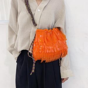 Image 4 - Летняя Пляжная прозрачная сумка на шнурке, женская модная брендовая дизайнерская сумка с кисточкой 2019