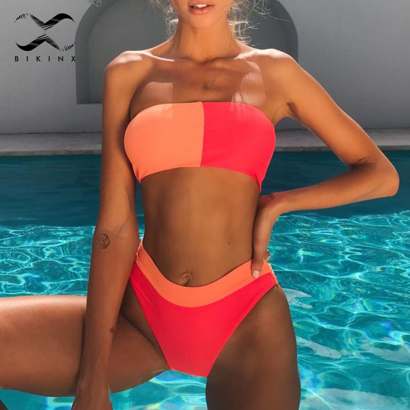 Bikinx Patchwork Biquini Neon Sexy Swimwear Women 2019 Bandeau Push Up Swimsuit Female Bathers High Waist Bikini Two-piece Suit