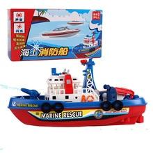 QICSYXJ Hadiah Ulang Tahun Pasokan Lucu Mainan Listrik Pencahayaan Musik Model Pemadam Kebakaran Penyelamatan Laut Air Semprot Mainan untuk Anak-anak