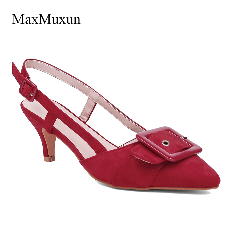 ddff83314cea6 MaxMuxun Women High Heel Pointed Toe Pumps 2018 Sexy Ladies Buckle Rivet  Black Pumps Red Faux