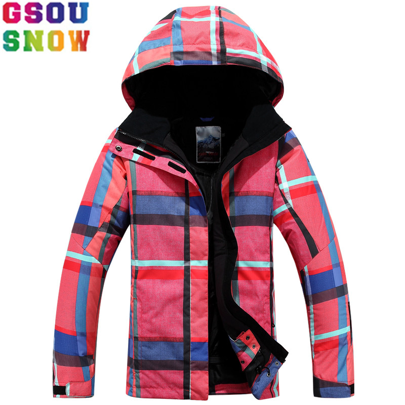 Gsou Snow Women Ski Jacket Thermal Retro Printed Winter Hooded Snow Coats Female Snowboard Jackets Waterproof Windproof Skiwear