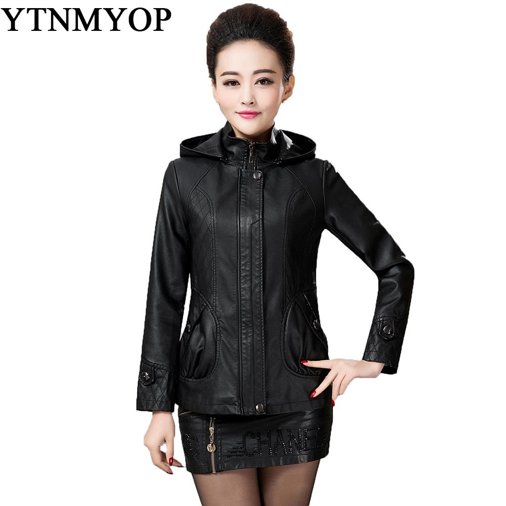 Autumn And Winter Women Leather Jacket Black Female