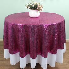 72 inch round fuchsia glitz sequin tablecloths banquet table overlay wedding cake table decoration