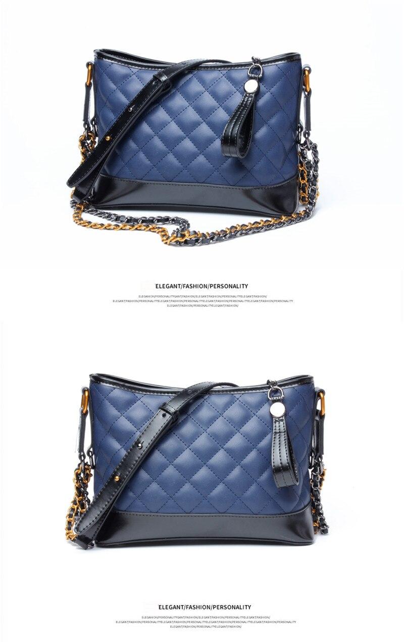 faf71e6d8783 AolMi diamante celosía Hobos Bolsa Real genuino cuero hombro bolsa de lujo  marca mujeres bolsos moda dama cadena Messenger bolsa