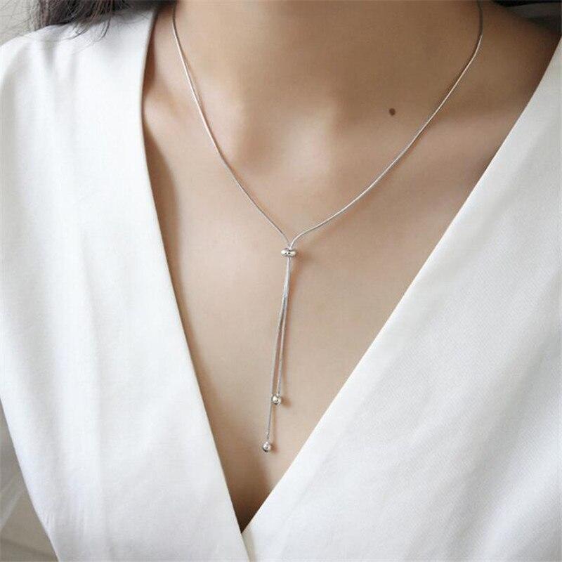 Corée mode argent Sterling 100% S925 bijoux bref ajuster perle pendentif Long collier pour femmes filles serpent os chaîne collier