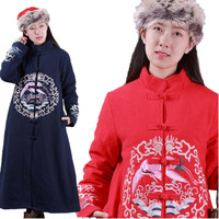 YESNO TS0 Women Long Quilted Jacket Chinese Tang Suit Handcrafted Ethnic Embroidery Qipao Frogs