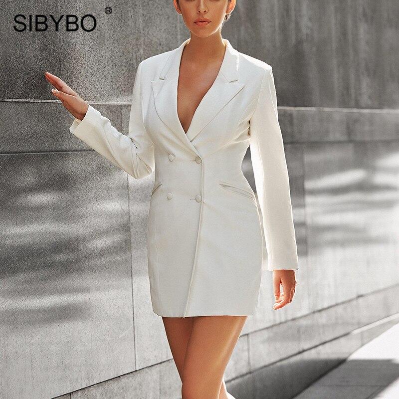 Женское мини-платье Sibybo, осеннее платье с отложным воротником и длинным рукавом