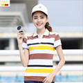 Szyid brand clothing summer casual women polos shirt cotton short sleeve embroidery striped breathable soft camisa shirts T0022