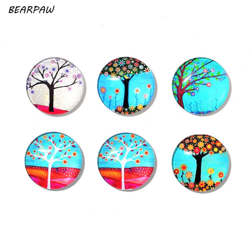 6Pcs/Set New Cute Round Life Tree Refrigerator Sticker Fridge Magnet Toy Glass Cabochon Fridge Magnet Funny Gift Home Decor