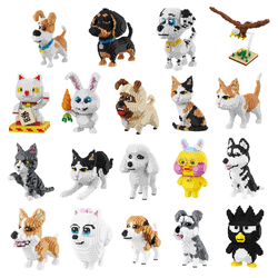 Balody Husky Corgi Schnauzer Dog Persian Cat Eagle Bird Rabbit Duck Animal Pets DIY Mini Building Diamond Nano Blocks Toy no Box