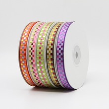 9mm 10yards/lot Jacquard Embroidery Gingham Tartan Plaid Ribbon Hair Bow Wedding Birthday Decoration Handwork DIY Gift Wrapping