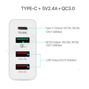 Image 5 - 48W QC 3.0 Quick Charger 3.0 PD Type C USB Charger for Samsung iPhone Huawei Tablet Fast Wall Charger US EU UK AU Plug Adapter