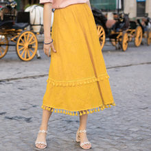 Inman Woman A Line Long Skirt Summer Hollow Embroidery White Fresh Skirt Solid Color Mid Calf Skirt(China)