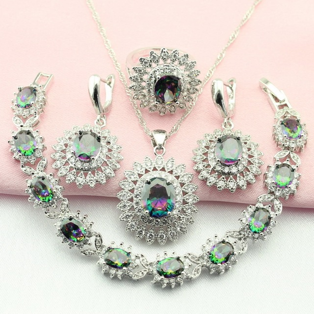Fashion Rainbow Stone Silver Color Jewelry Sets For Women Crystal Flower Necklace Earrings/Bracelet/Pendant/Ring Free Ship