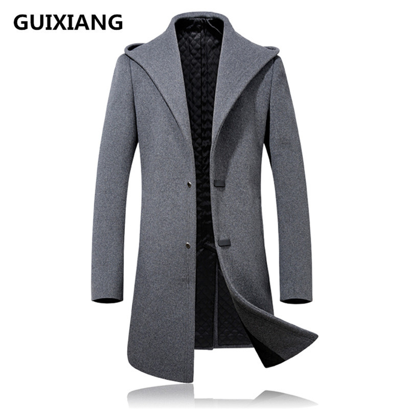 2017 зимний мужской Модный повседневный мужской утепленный Тренч с капюшоном, шерстяное пальто, мужские пальто, куртки, ветровка, размер S 3XL