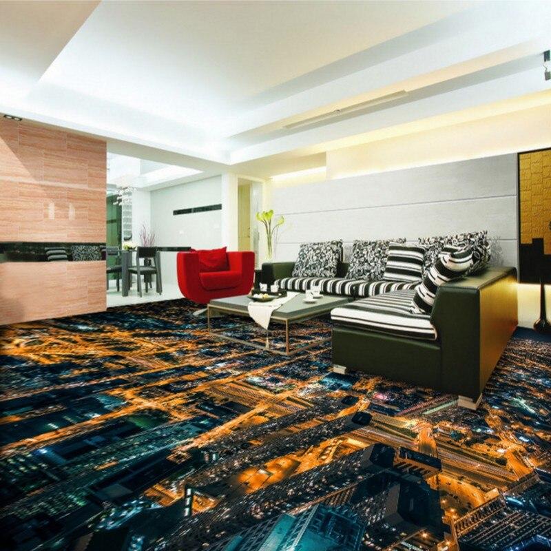 Livraison gratuite personnalisé HD animé urbain nuit vue 3D auto-adhésif sol mural centre commercial hôtel couloir papier peint mural - 2