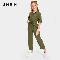 SHEIN Kiddie Army Green Button And Pocket Front Belted Casual Girls Jumpsuit 2019 Summer Roll Up Sleeve Straight Leg Jumpsuits