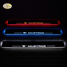 SNCN LED door sill for Ford Mustang 2015 2016 Led moving door scuff plate welcome pedal