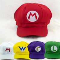 Juego de Super Mario Cosplay gorra de Lugi Bros Yoshi Wario Waluig sombreros disfraces para fiesta de Carnaval Prop