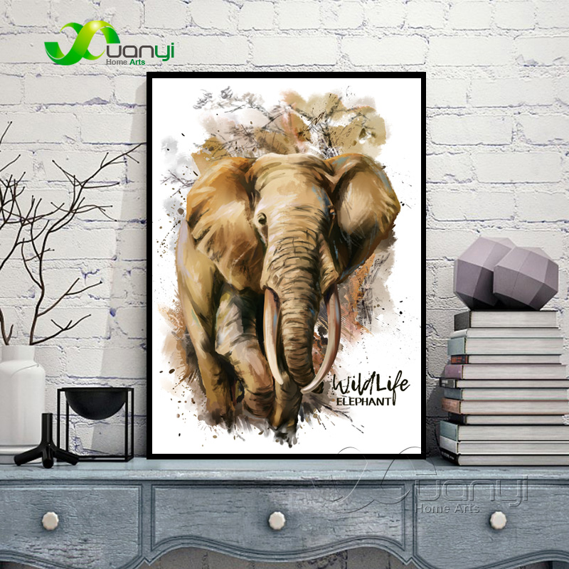 Elefante Canvas Art Poster Abstract Oil Paintings Cuadros Decoracion - Decoración del hogar
