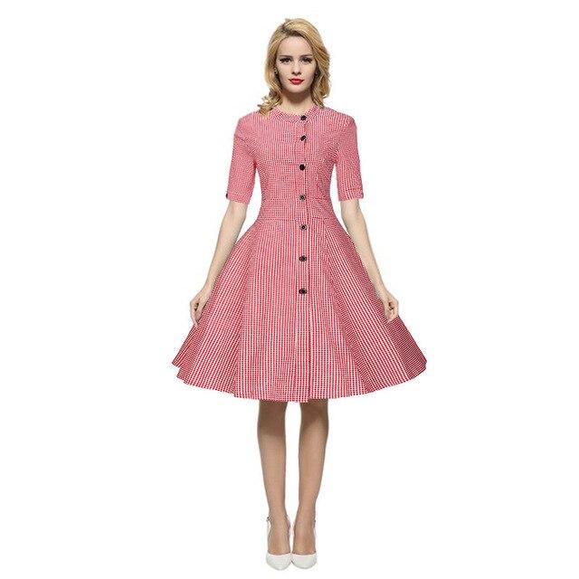 Mujeres Ucrania Gran Tamaño de Color Rosa Vintage Retro Vestidos ...
