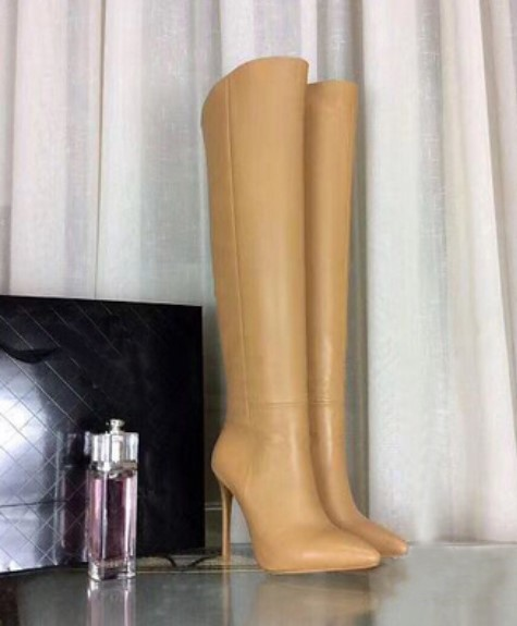 Fashion sexy autumn winter boots nude knee high heel shoes pointed toe side zip boots women knee high women spring autumn boots sexy high heel leather boots pointed toe buckle decoration designer boots wine white shoes