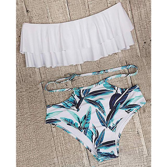 High Waist Swimsuit 2019 Sexy Bikinis Women Swimwear Ruffle Vintage Bandeau Striped Bottom Bikini Set Bathing Suits