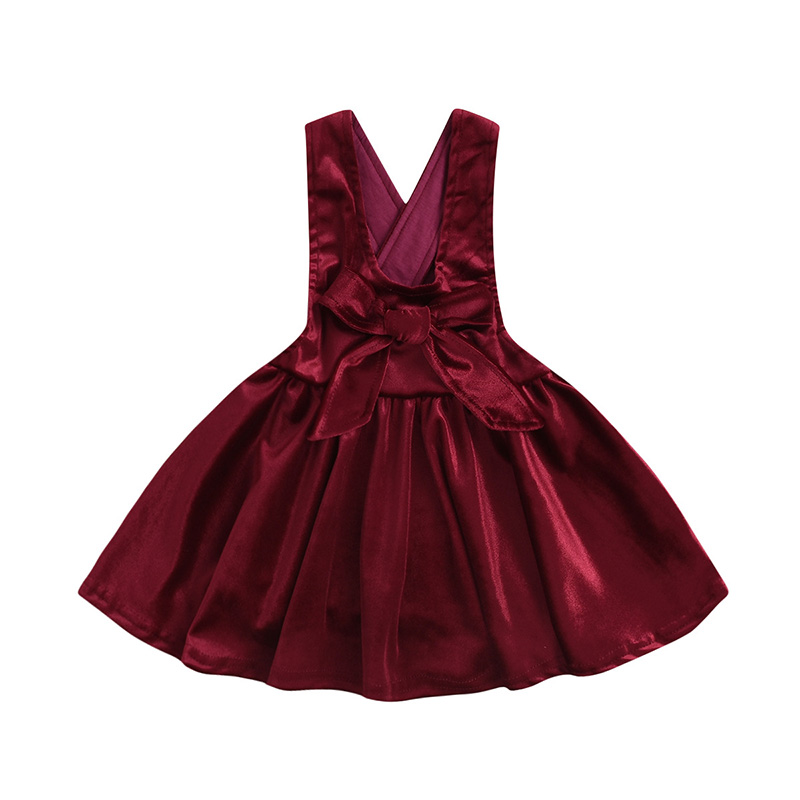 Girls Dress 2019 Fashion Girl Solid Color Bow Casual Wear Childrens Clothing