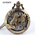 Bronze Chinese Zodiac Quartz Pocket Watch Necklace Dog Pooch Tiger Horse Cow Mouse Rabbit Watch Mens Retro Pendant With Chain