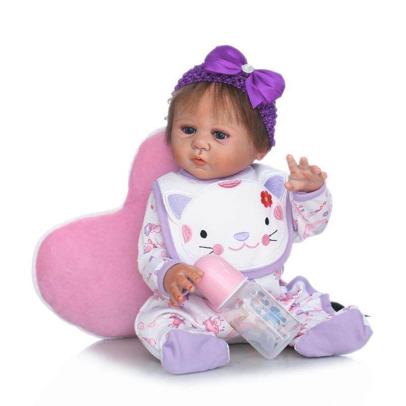 Здесь продается  50CM Bebe Reborn Doll Lifelike Full Silicone Body Newborn Girl Doll Fashion Children Giffs Kids Baby Toys Boneca  Игрушки и Хобби