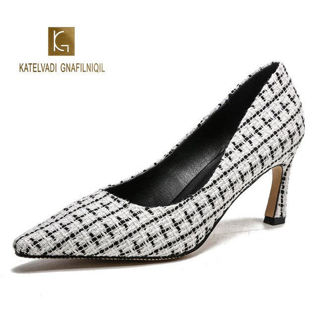 White Women Pumps 7CM High Heels Grid Cotton Fabric Pointed Stiletto Work Shoes Sexy Women's Shoes Zapatos De Mujer K-271